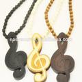 2014 più nuovo design personalizzato personalità nota musicale collana di legno buono