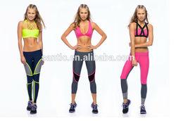 Wholesale yoga wear set high waist fitness pant & bra set