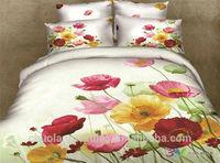Poppy garden 100% cotton 3d printed bedding sets duvt cover sets comforter bed sheet