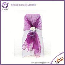 Fashionable design purple wholesale wedding cheap chair covers wholesale organza chair covers and elegant chair sashes