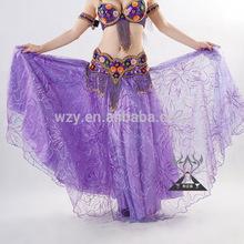 Purple Stage Performance Wear Belly Dance Chiffon Skirt