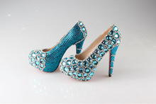 BS846 super high heel blue crystals bridal wedding shoes party shoes