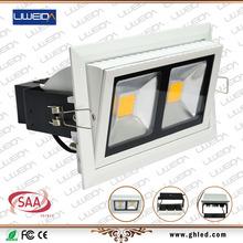 38w COB Bridgelux Chip Australian standard SAA Approved Adjustable Rectangular led light recessed downlight