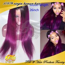 Hot selling brazilian virgin human purple wig