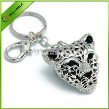 Cool silver leopard head rhinestone keychain
