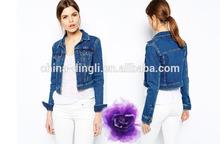 New design women Classic point collar Warehouse Cropped Denim Jacket