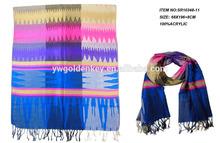 2015 embroidery and twill fashion acrylic long pashmina viscose scarf shawl