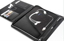 PU zippered tablet Ipad case with power bank