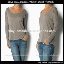 New Women long sleeve plain t-shirt with 100%Linen