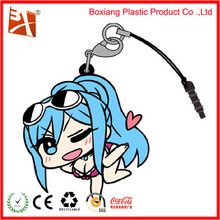 pvc mobile phone strap, japanese mobile strap with snap hook