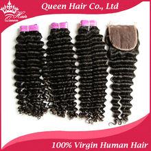 Queen Hair Products 4pcs/lot Brazilian Virgin Deep Wave 1 Piece Lace Top Closure with 3Pcs Hair Bundle
