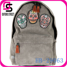 top selling skull korean canvas fashionable children school bag