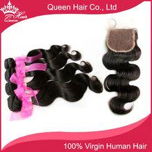 100% Unprocessed High Quality Free Part Lace Closure with Brazilian virgin hair bundles Body Wave 4pcs/lot