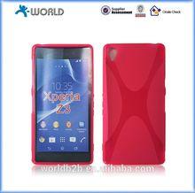 Transparent color X line soft tpu gel skin for Sony Xperia Z3