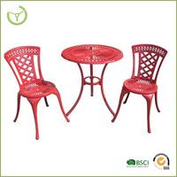3pc cast alum 60cm dia round table furniture outdoor out door furniture garden