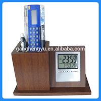 Table clock with calendar, Wood brush pot clock, Wooden Calendar