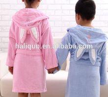Cute Children Bathrobe Rabbit Ear Cotton Velour Thick kids Sleepwear