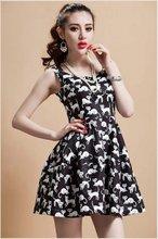 Factory2014 summer new European style pattern sleeveless female cat big swing dress elastic waist skirts evening dress