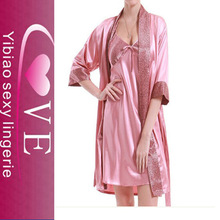 Elegant style for underwear feminine jacquard silk fabric nightgown/sleepwear