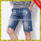 2014 latest design hot jeans denim short jeans for mens summer short ripped handwork scratched model innovative young boy trendy