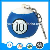 Billiard ball shaped custom foam keychains