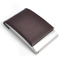 Business Leather Name Card Holder/cardcase Stainless Steel Case