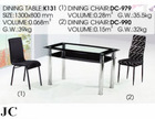 K131/DC-979 Double-deck Glass Table And Chair/Classic Dining Room Sets/Catering Tables and Chairs Set/Glass Dining Table