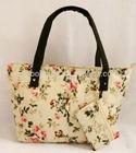 China Wholesale Printed Flower Zipper Canvas Bag