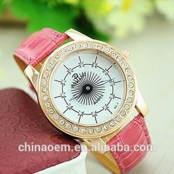 Newest Fashion Women Colourful dandelion Diamond Rhinestone Watches Lady Leather Quartz Wristwatch XMAS Gift gold quartz watch