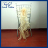 CH098C wholesale Nice cheap organza wedding champagne ruffled chair sash