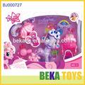 cadeau populaire pour enfant jouet en plastique drôle de beauté rose petit poney cheval avec bobble head