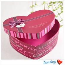 custome heart shape recycled paper box with silk ribbon for christmas, birthday, wedding gift, candy, chocolate, gift packaging