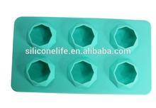 FDA Custom 6pcs diamond shape non-stick silicone ice cube tray