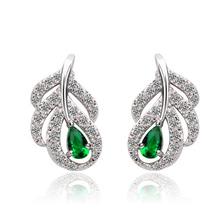 Populary diamonds rings price earring leaf green AAA zircon oker brand jewelry earring