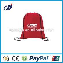 black promotional 190T polyester draw string bag sports string bag small string bag