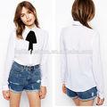 2014 nova moda blusa elegante para mulheres de meia idade tie modelo pescoço blusa de uniforme