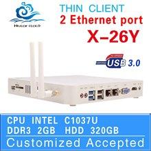thin client price industrial pc case x-26y Mini- PC with USB 3.0 HDMI 2 RJ45 TF SD Card 2014 NEW Intel Celeron 2G RAM 320G HDD
