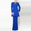 Elegant women Long blue embellishment design bead baju kurung and baju melayu