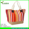 LUDA colorful Vertical stripes paper straw beach bag Large Paper Cloth Straw Beach Bag Striped Paper Straw Bag