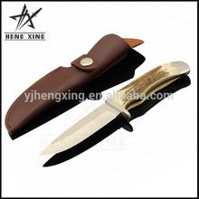bainha de couro fixa lâmina chifre bonning faca de caça
