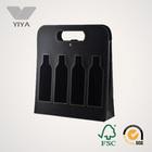 Black Leather Wine Carrier with Wine Bottle PVC Window