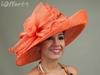 orange colour sinamay material make elegant church hats