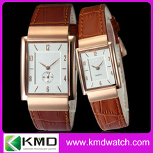 Vintage Couple Lover Wrist Watch Ultra Thin Stainless Steel Watch Case 316L