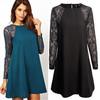 Sexy lace stitching round neck dress,online shopping
