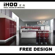 Alto brillo de color rojo del gabinete de cocina Top laminado de la cocina precios