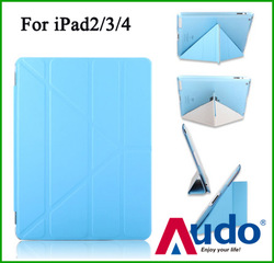 For Apple iPad 2 Premium PU Leather Smart Cover Transformers Case