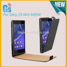 Classic Flip Leather Case For Sony Z3 Compact Z3 Mini M55W Black