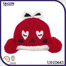 Winter warm red crochet baby hat with ear animal kids hat