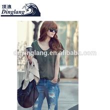 womens girlls loose plus size xxl v-neck fashion blank t-shirt t-shirt packaging boxes womens casual t-shirt