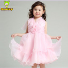 Pink fancy competition formal party flower girl dress design kids clothes in china